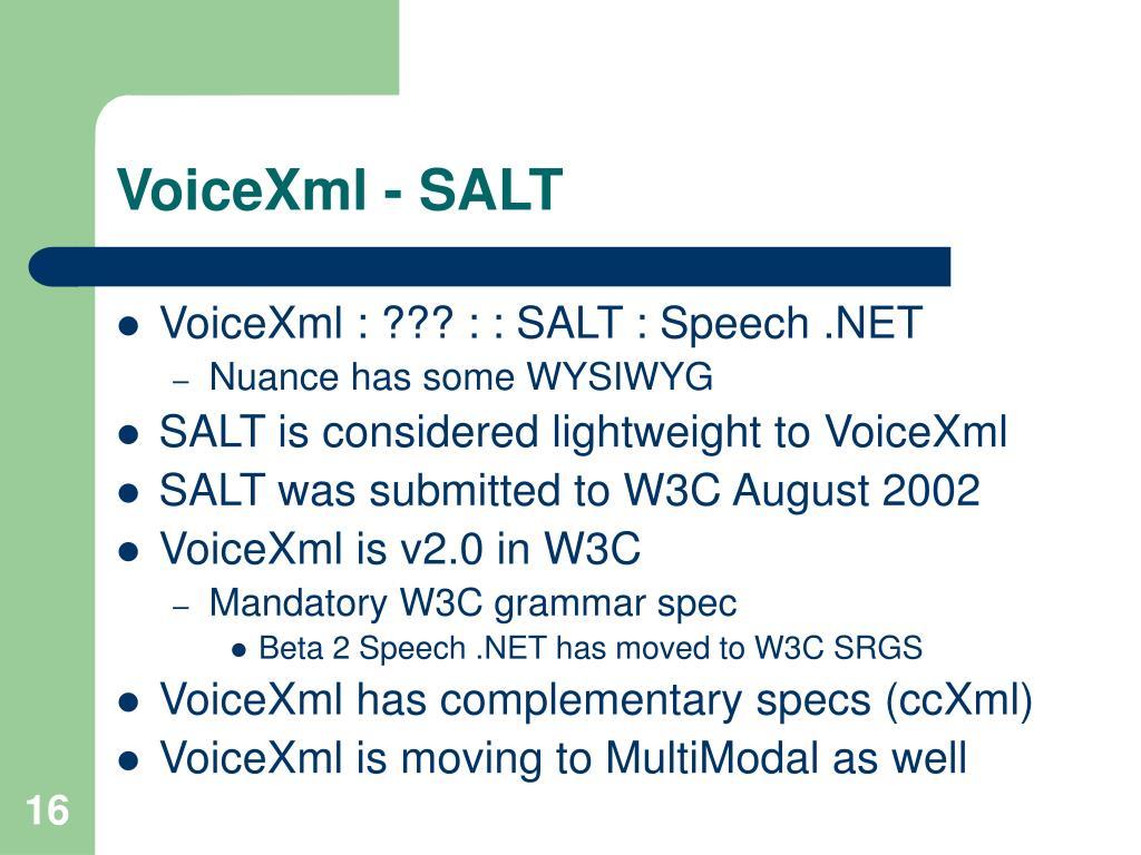 VoiceXml - SALT
