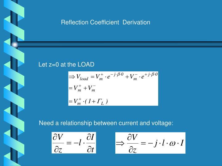Reflection Coefficient  Derivation