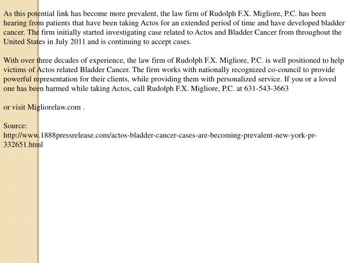 As this potential link has become more prevalent, the law firm of Rudolph F.X. Migliore, P.C. has be...