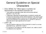 general guideline on special characters