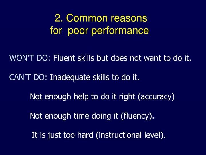 2. Common reasons