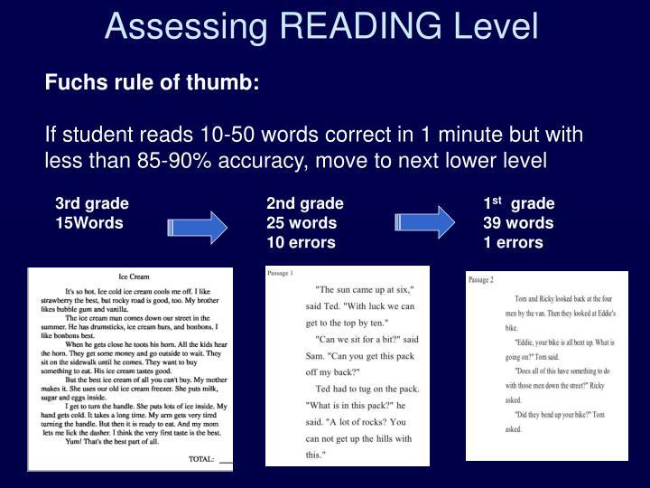 Assessing READING Level