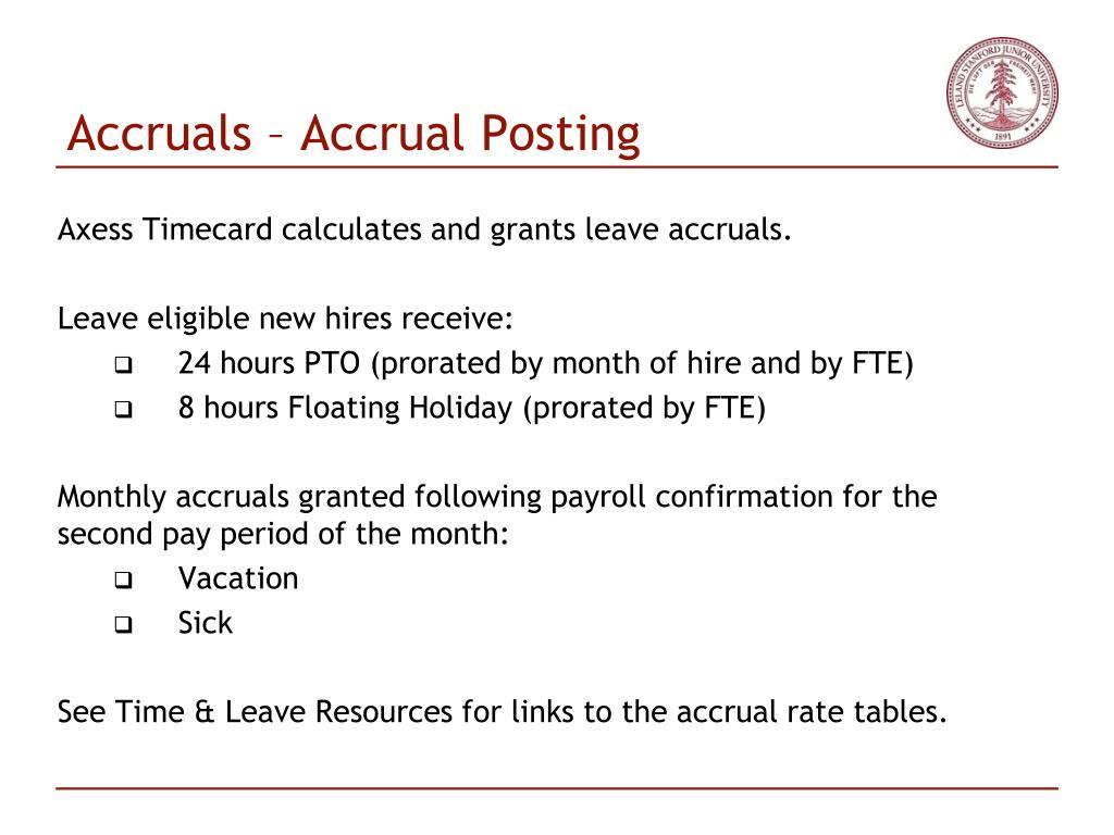 Accruals – Accrual Posting