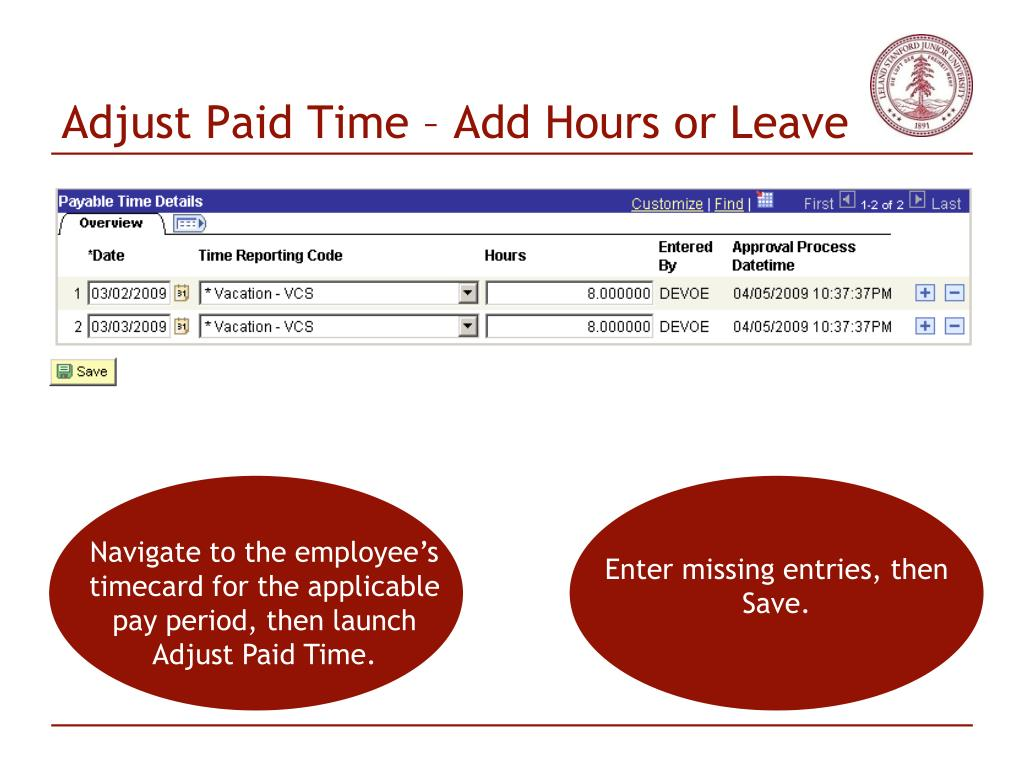 Adjust Paid Time – Add Hours or Leave