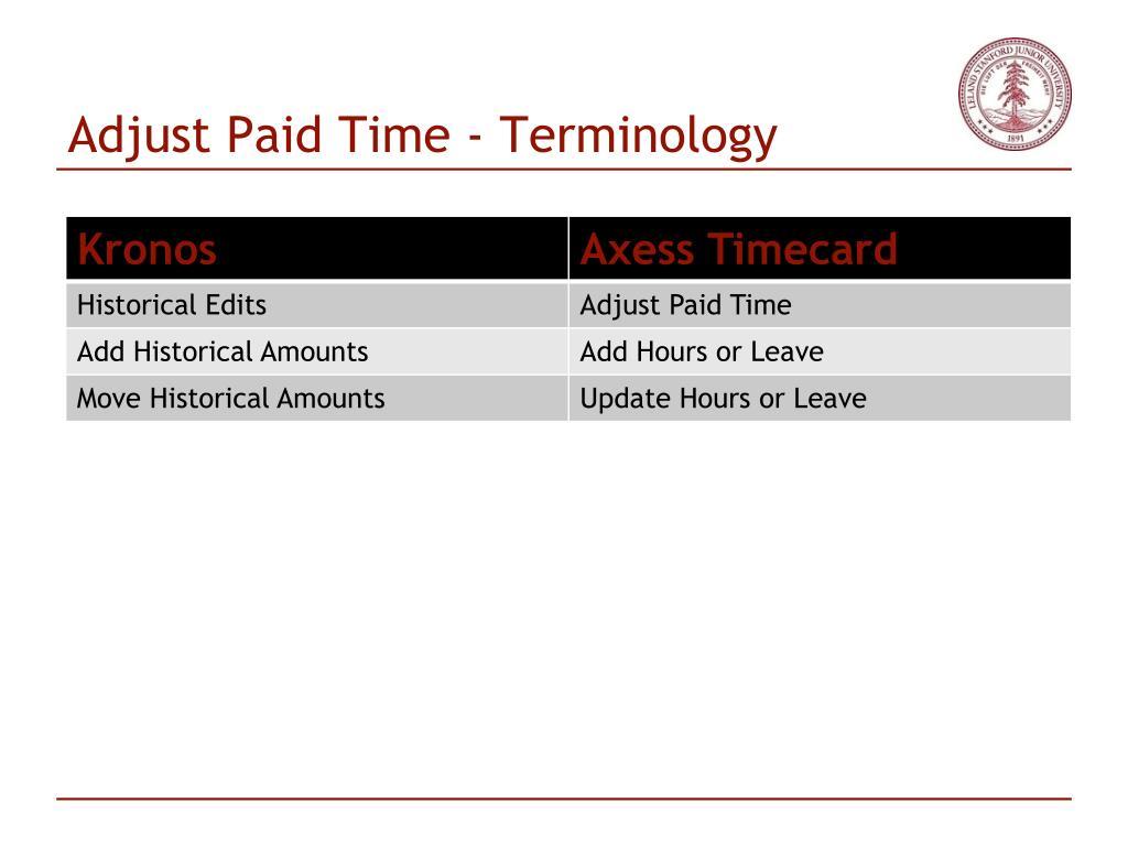 Adjust Paid Time - Terminology