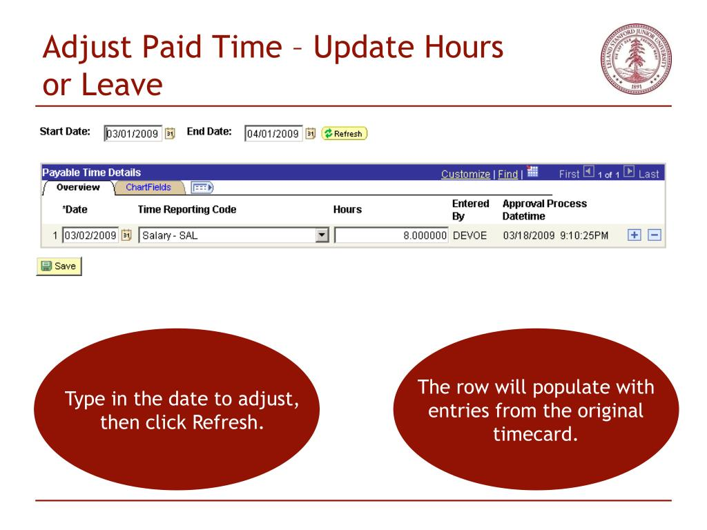 Adjust Paid Time – Update Hours