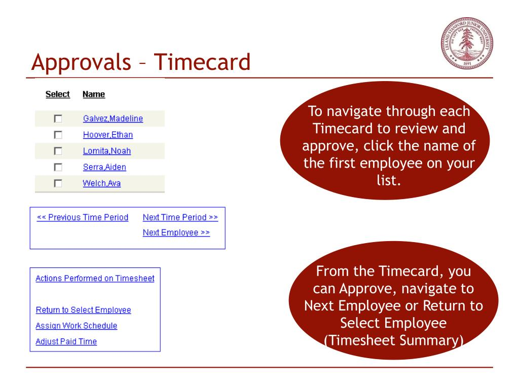 Approvals – Timecard