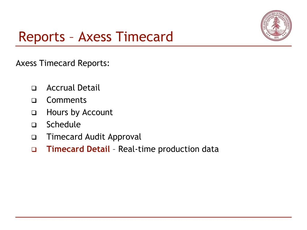 Reports – Axess Timecard