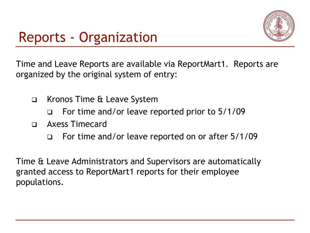 Reports - Organization