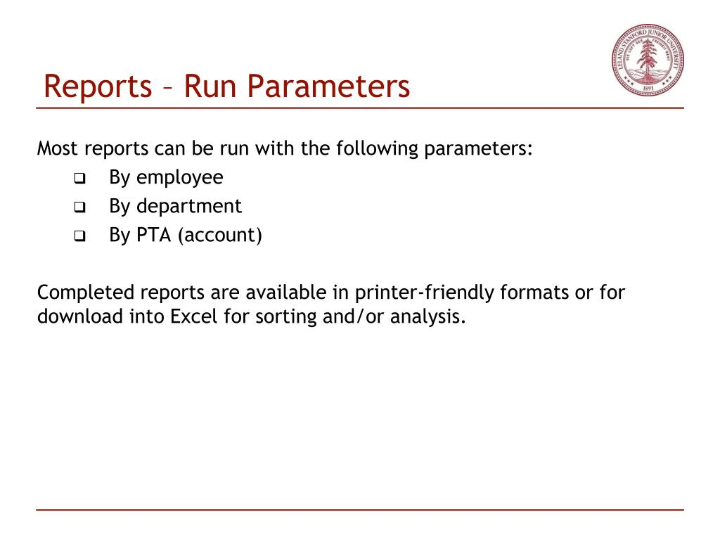 Reports – Run Parameters