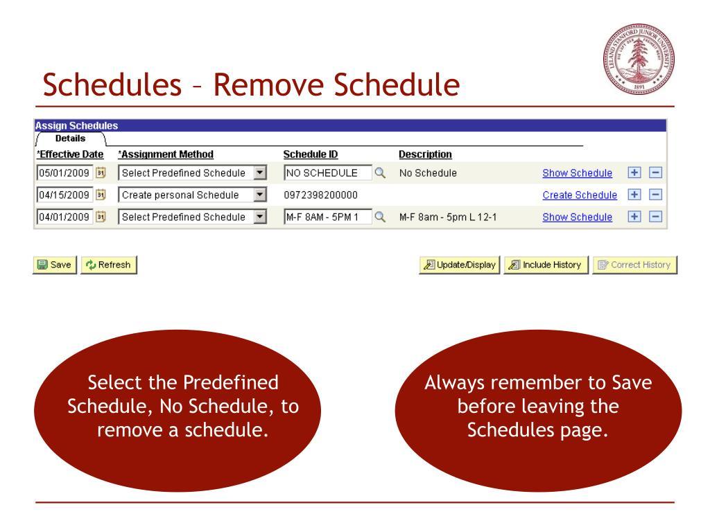 Schedules – Remove Schedule