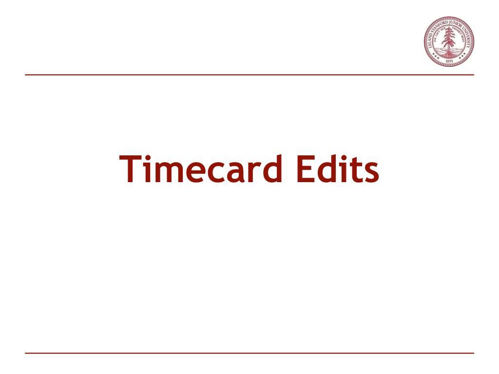 Timecard Edits
