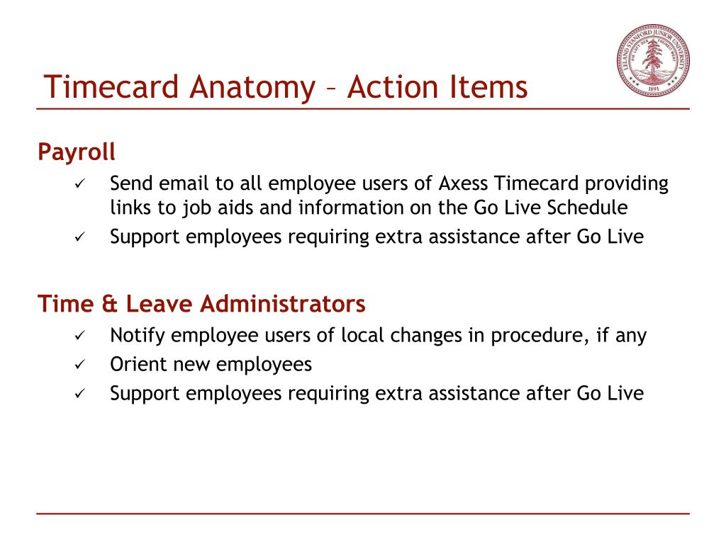 Timecard Anatomy – Action Items
