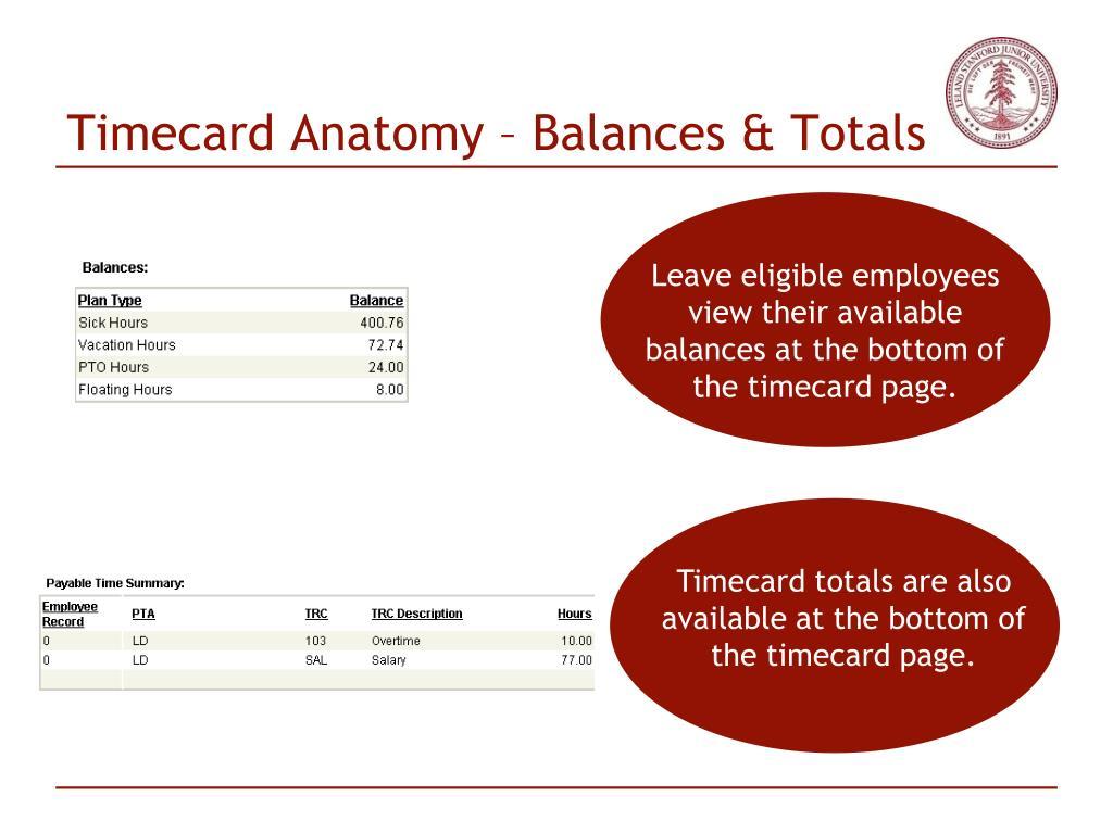 Timecard Anatomy – Balances & Totals