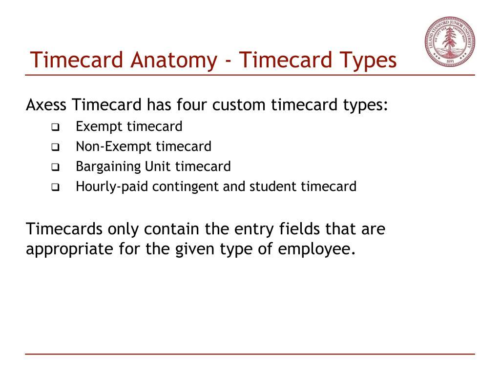 Timecard Anatomy - Timecard Types
