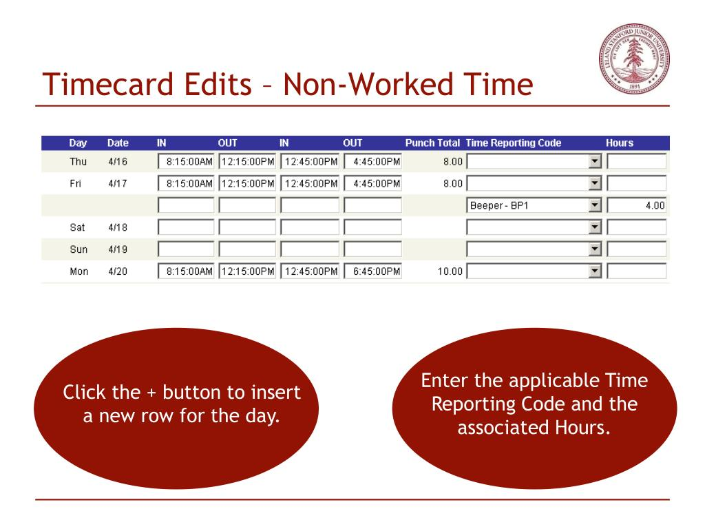 Timecard Edits – Non-Worked Time