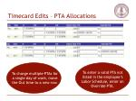 timecard edits pta allocations52