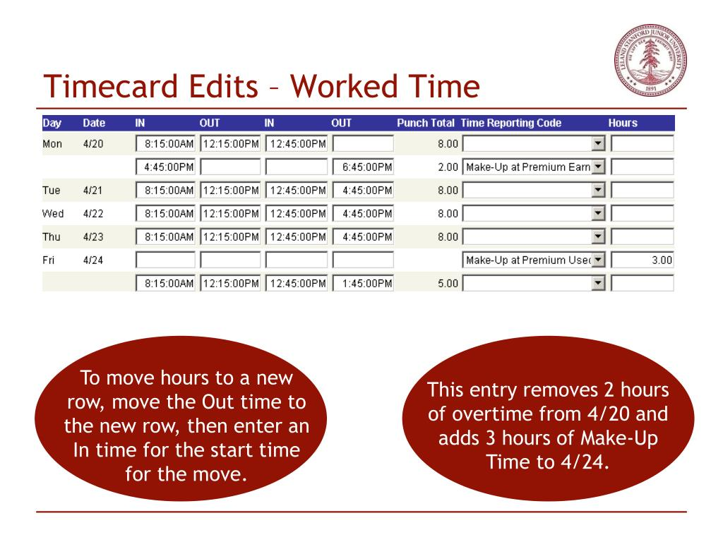Timecard Edits – Worked Time