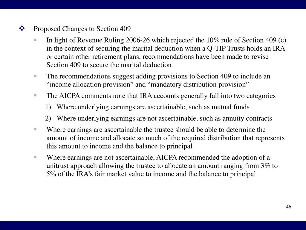 Proposed Changes to Section 409