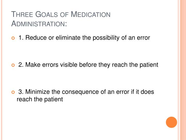Three Goals of Medication Administration: