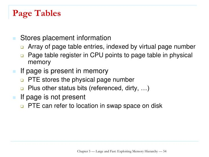 Page Tables