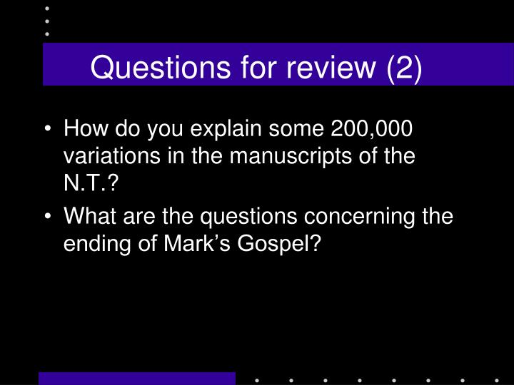 Questions for review (2)