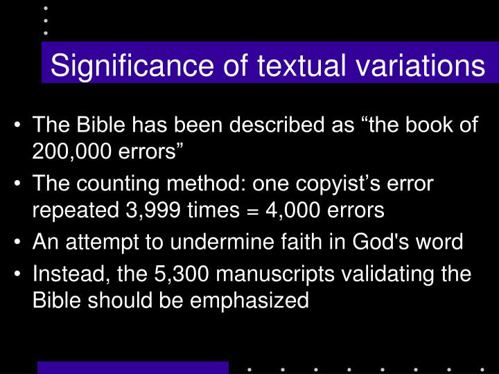 Significance of textual variations