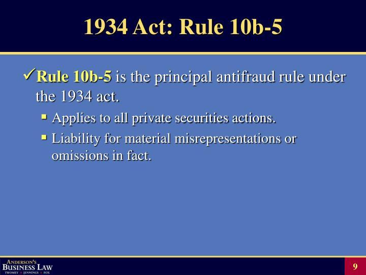 1934 Act: Rule 10b-5