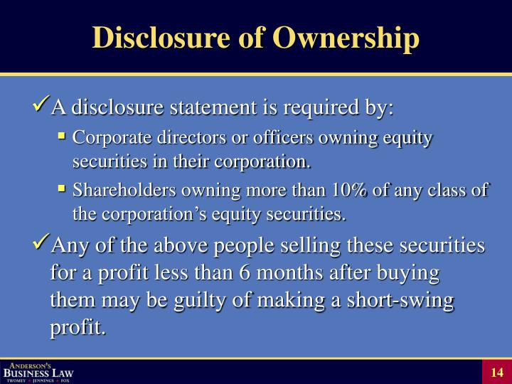 Disclosure of Ownership