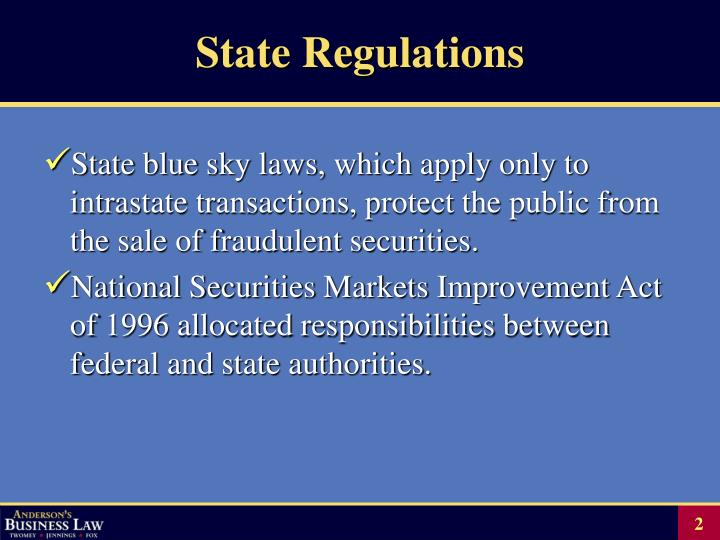State regulations
