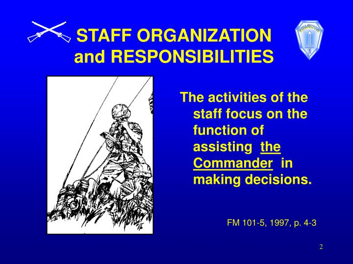 Staff organization and responsibilities