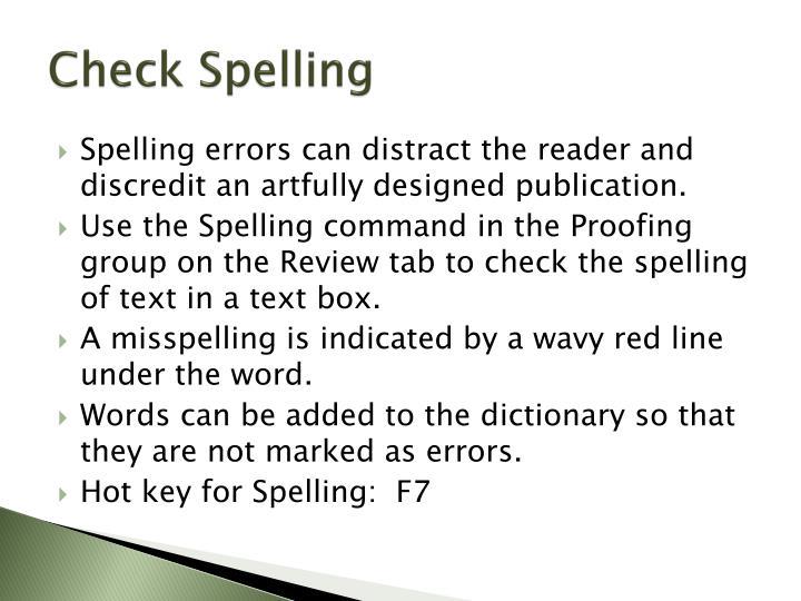 Check Spelling