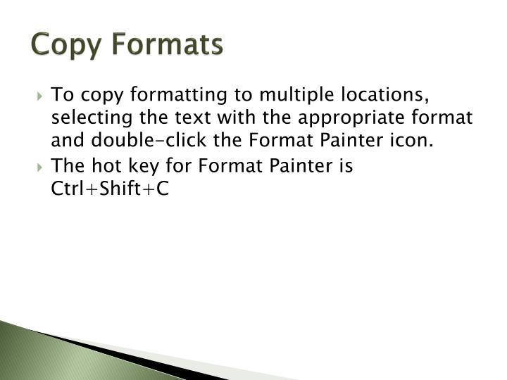 Copy Formats