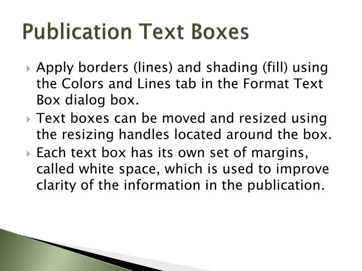 Publication Text Boxes
