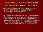 what were some anti federalist concerns and were they valid6