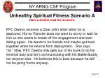 unhealthy spiritual fitness scenario a have a soldier read the scenario