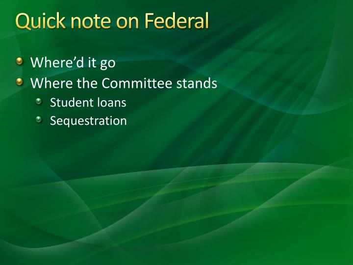 Quick note on Federal