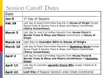 session cutoff dates