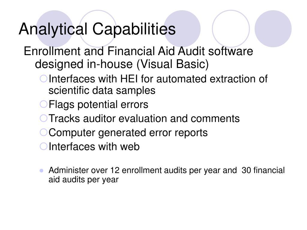 Analytical Capabilities