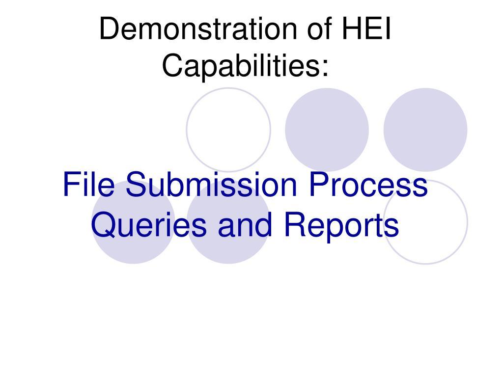 Demonstration of HEI Capabilities:
