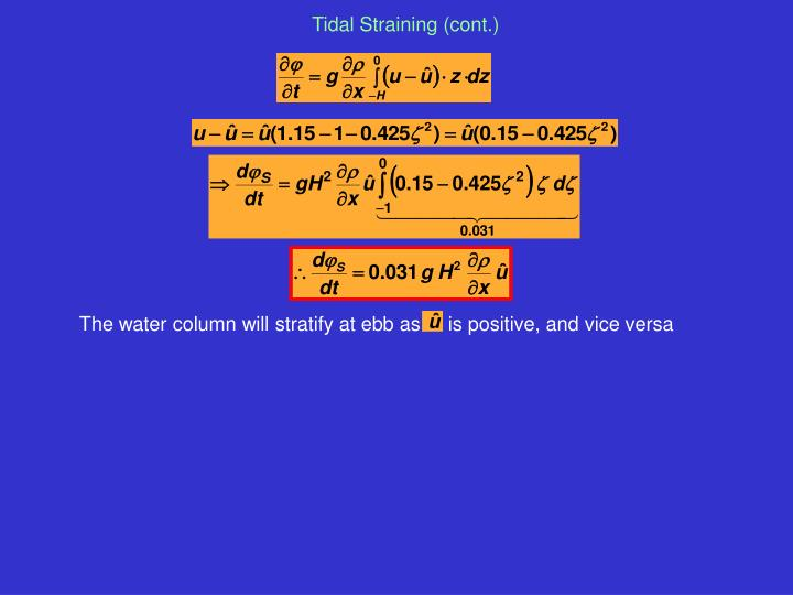 The water column will stratify at ebb as     is positive, and vice versa