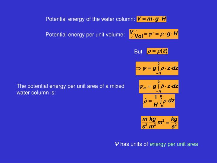 Potential energy of the water column:
