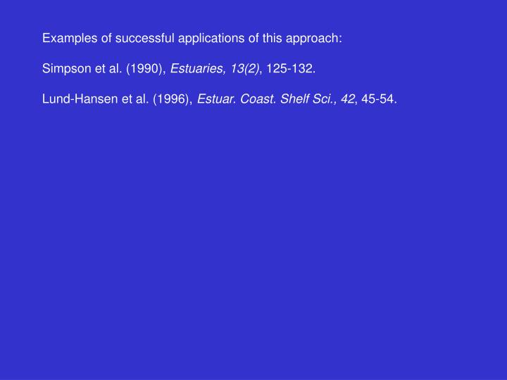 Examples of successful applications of this approach: