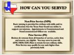 how can you serve