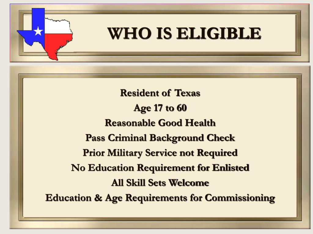 WHO IS ELIGIBLE