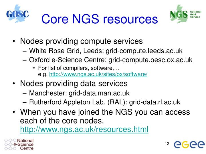 Core NGS resources