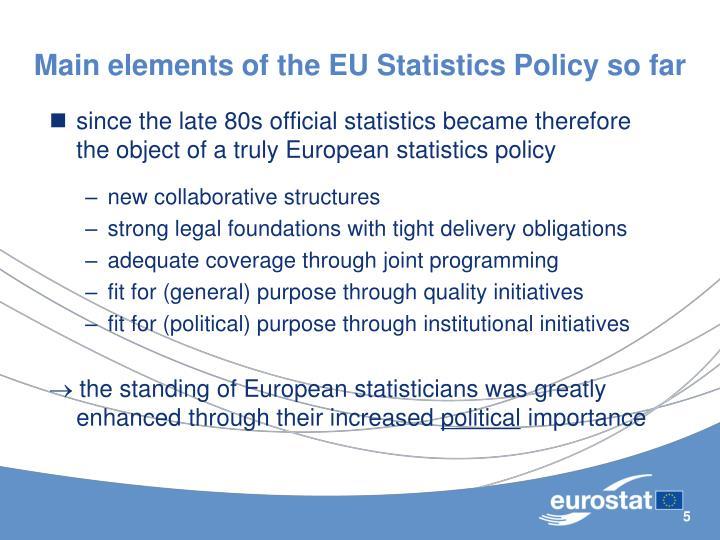 Main elements of the EU Statistics Policy so far