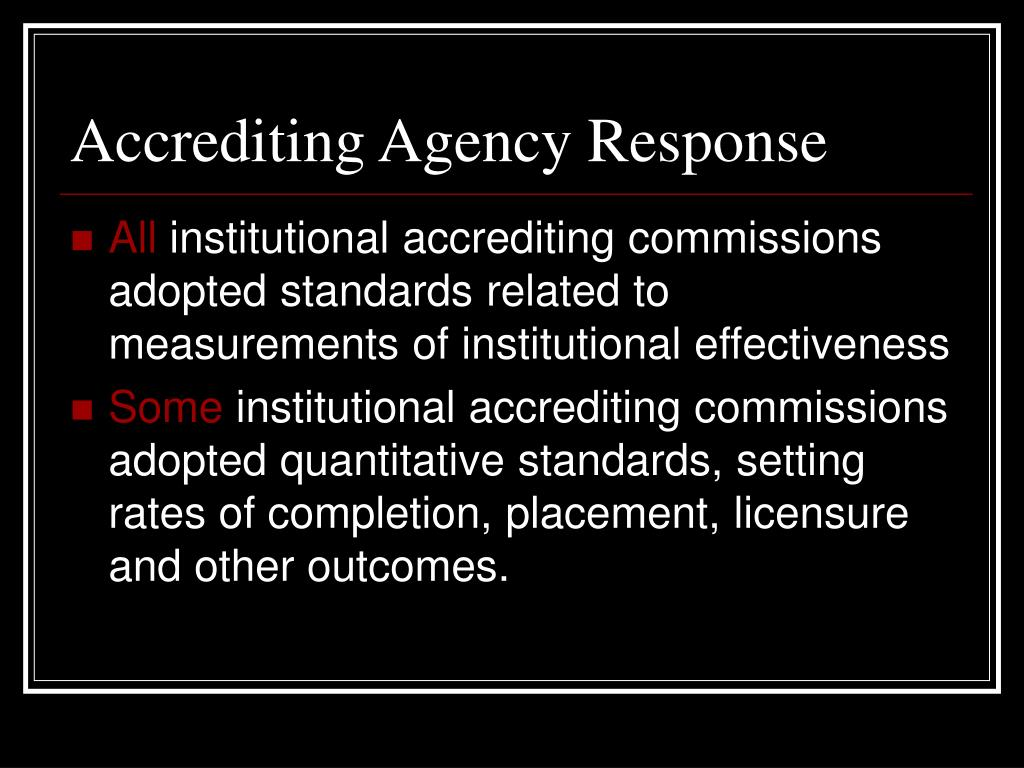 Accrediting Agency Response
