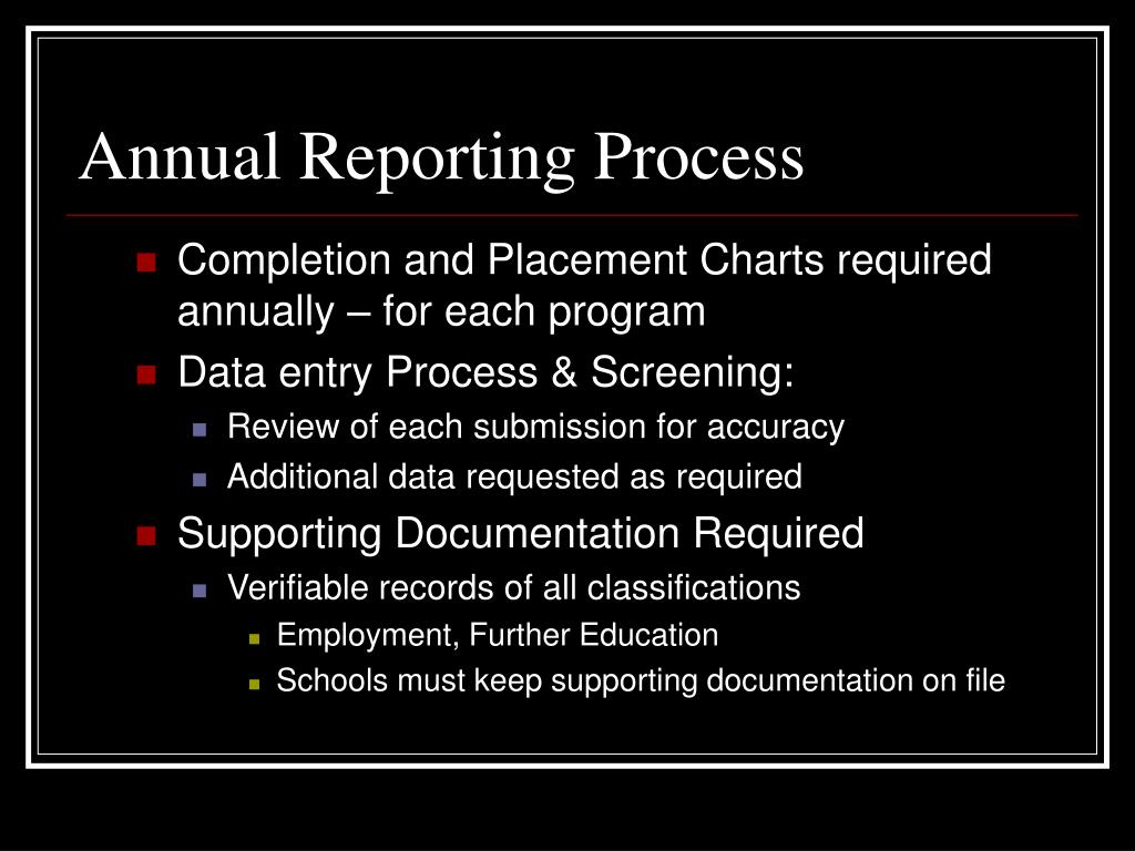 Completion and Placement Charts required   annually – for each program