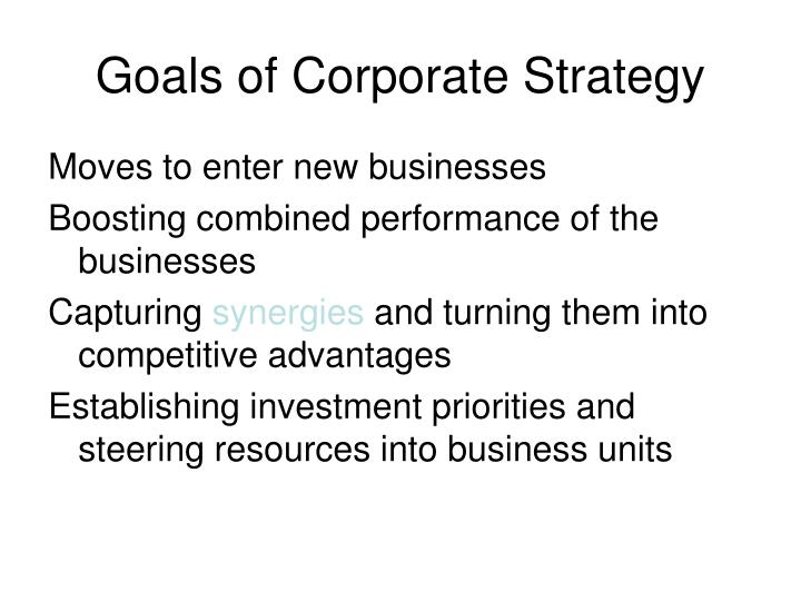 Goals of Corporate Strategy